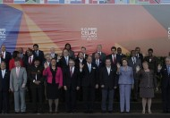 Regional leaders pose for a photograph outside the Revolutionary Palace, during the Community of Latin American and Caribbean States (CELAC) summit, in San Antonio de Belen