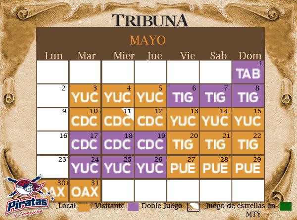 Calendario de juegos de Piratas de Campeche - Tribuna Campeche